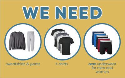 We Need Sweatpants, Shirts & Underwear